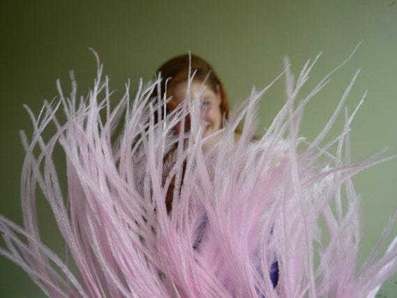 OSTRICH FEATHER FRINGE / Cotton Candy  Pink / 353