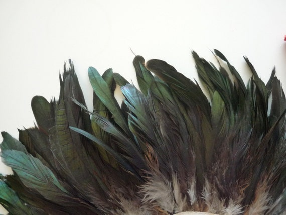 BLACK COQUE Tail  Feather w Teal Green Hightlights / 480 / On Clearance