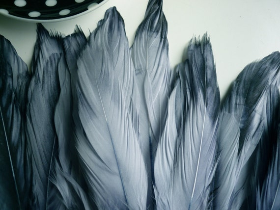 VOGUE GOOSE Feather Fringe, Exclusive color, two tone steel grey blue /  812
