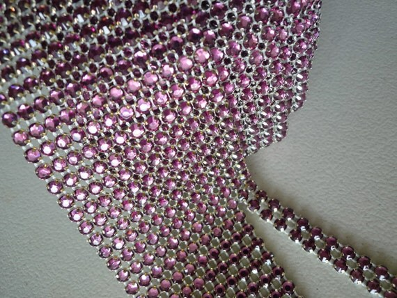 Reserved PRINCESS Rhinestone Banding  /  Antique Rose Pink Crystal w/ Flat Silver Back / 4 Rows / 1 yrd