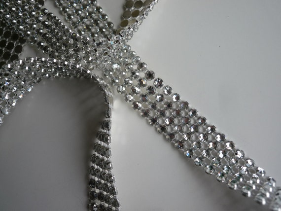 PRINCESS Rhinestone  Banding, Trim /  Clear Crystal w/ Flat Silver Back / 4 Rows / PCC418