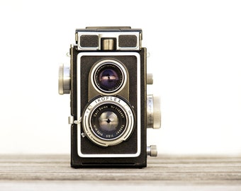 Retro Mod Decor Ikoflex Camera Print Photograph Black and White Hipster WWII Vintage