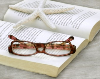 Beach Style Fine Art Photo Pink Gray Starfish Book Glasses Reading