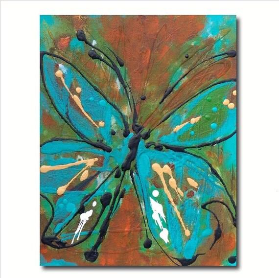 Nursery Decor Blue Butterfly Painting Fancy Free Joi De Vivre -Abstract Turquoise Teal Orange Nature Original