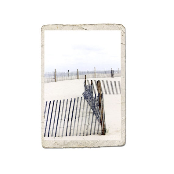 Fine Art Ocean Landscape Photograph To The Beach Sand Rustic Fence Shore Nautical Summer Sea Water