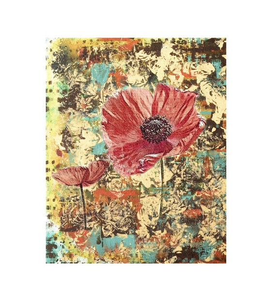 Flower Print Poppy Jubilee Flowers Orange Red Yellow Garden Nature Fine Art Floral