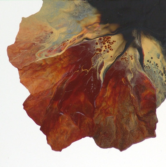 Earth Mix Small Abstract Painting -Orange Yellow Brown Original Contemporary
