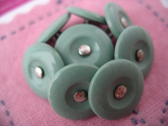 Eight Vintage Muted Green Buttons - with pin shanks