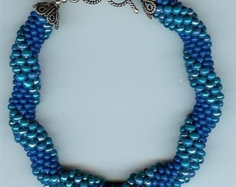 "Shades of Blue Bracelet - bead crochet - 8"""