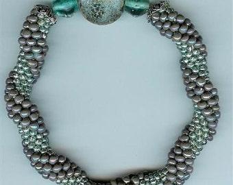 "Lilac and Metallic Blue Bangle Bracelet - bead crochet - 7-3/4"""