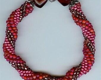 """Red Bangle Bracelet - bead crochet - 7-3/4"""""""