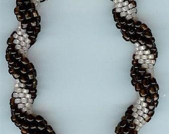 "Brown and Tan Bangle Bracelet - 7-1/2"""