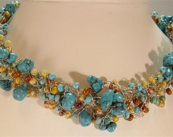Southwest-Look Wire Crocheted Necklace/Choker - 16""