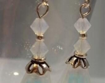 White and Aqua Lucite Flower Earrings