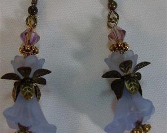 "Blue Trumpet Lucite Flower Earrings - 2-1/2"""