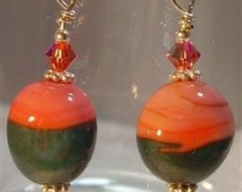 "Padparadscha and Teal Lampwork Earrings - 2-1/4"""