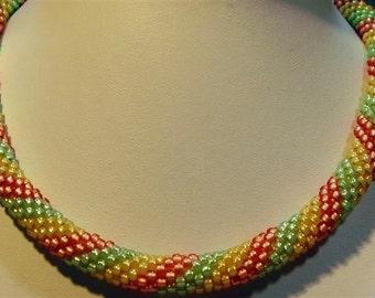 """Sherbert Bead Crochet Necklace - 17-1/2"""""""