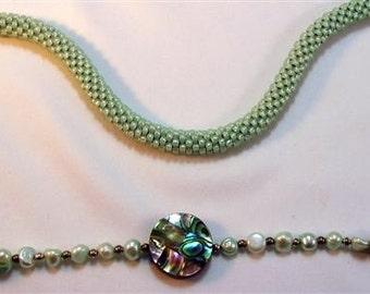 "Mint Green Bead Crochet Necklace - 24"""