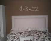 Wall Decal Quote Monograms and lived happily ever after phrase Wall Decal/Sticker/Lettering/Transfer