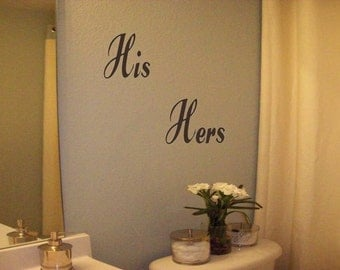 Wall Decal Wall Transfer His  Hers Wall Decal/Sticker/Lettering/Transfer