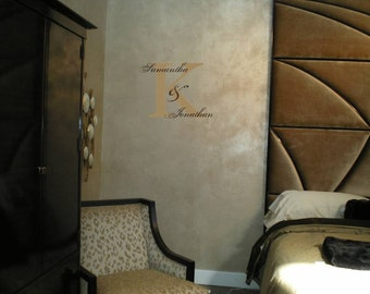 Wall Decal Wall Sticker Personalized Double Name and Monogram Wall Decal/Wall Lettering