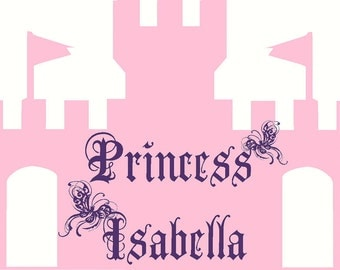NEW DESIGN  XXL Grand  Castle with Personalized Princess Name and Butterflies Wall Decal Wall Graphic