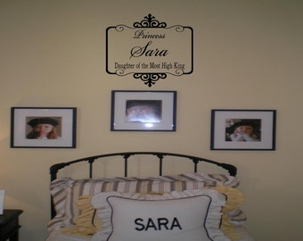 Personalized Name and Daughter of the Most High King with Ornate Frame Wall Decal Wall Words Wall Art