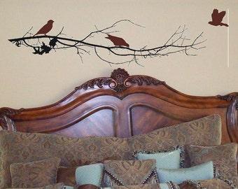 Tree Branch with 3 birdies wall decal/wall sticker/wall tattoo
