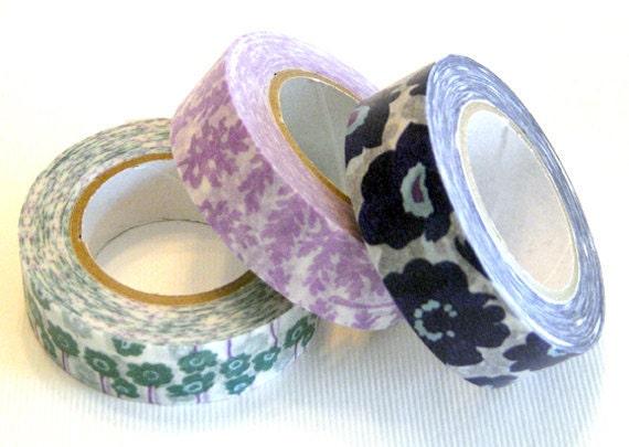 poppies, Japanese masking tape 15mm - set of 3