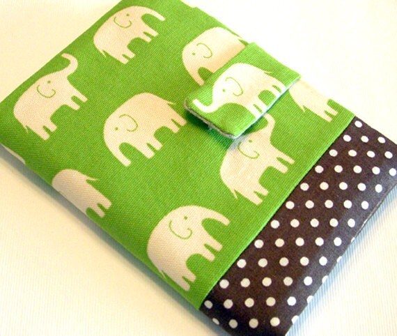 Happy elephant (lime green) - passport cover