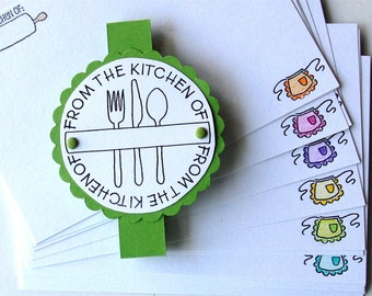 RECIPE CARDS Hand Stamped and Colored