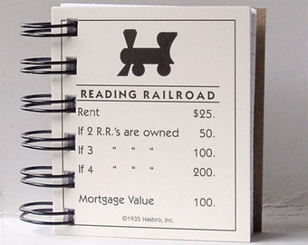 MONOPOLY NOTEBOOK Game Card notepad or mini journal