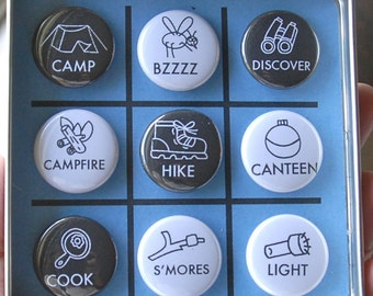 TIC TAC TOE Summer Camp Daily Life Magnetic Travel Tic Tac Toe in a Tin