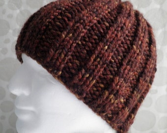 KNITTING PATTERN/RUSTICO Chunky Knit Beanie/Winter Hat/ Womans Beanie/Extra Chunky Thick Ribbed Hat / Easy Beanie Hat Pattern /Knit Straight