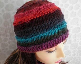 KNITTING PATTERN/ FIESTA Multicolor Noro Wool Hat/Intermediate /Knit Straight/Womans knit beanie pattern/ Knit Woolen Hat pattern
