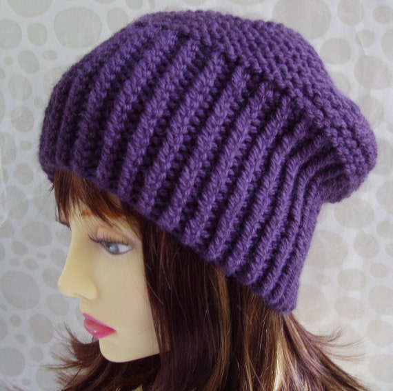 KNITTING PATTERN / PARIS/ Slouchy Beanie Hat Pattern Chunky Knit Ribbed Slouch Hat/ Knit Straight