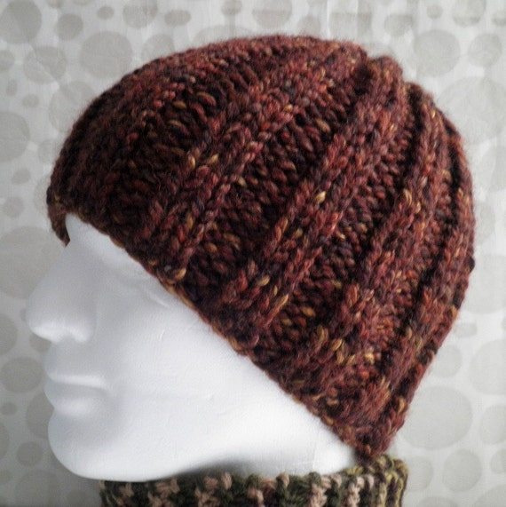 Ribbed Knit Hat Pattern On Circular Needles : Items similar to KNITTING PATTERN/RUSTICO Chunky Knit ...
