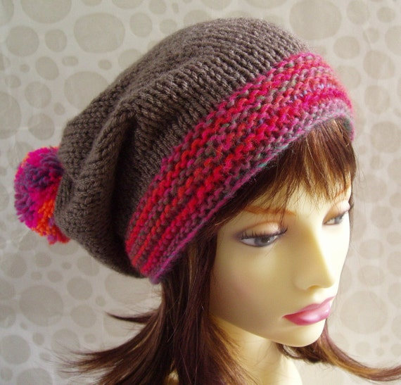 Easy Slouchy Hat Knitting Pattern Straight Needles : WOMANS SLOUCH HAT Knitting Pattern for Marta Slouchy by ...