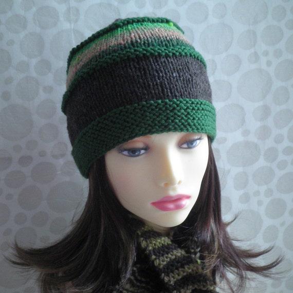 KNITTING PATTERN/ VERMONT Tweed Wool Hat Pattern for Men and Women/Knit on Straight Needles/Noro Wool/Womans Woolen Hat Pattern