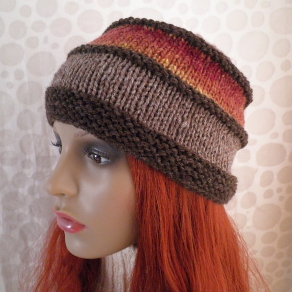 KNITTING PATTERN/ VERMONT Tweed Wool Hat for Men and Women/Knit on Straight Needles/Noro Wool/Womans Woolen Hat Pattern