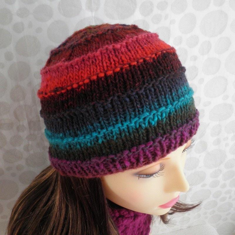 Knitting Pattern For Noro Wool : KNITTING PATTERN/ FIESTA Multicolor Noro Wool Hat/Intermediate