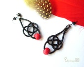 Twist Red and Black leather  - Earrings