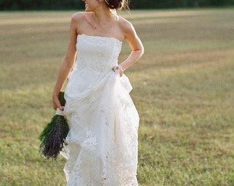 Margeaux - tulle and satin applique wedding gown