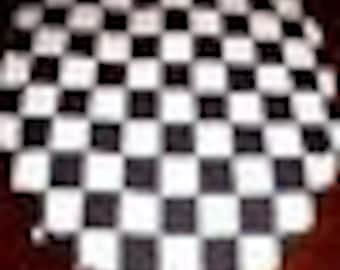 New Toilet Seat Lid Cover Made From Black and White Checkered Flag Nascar Fabric
