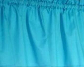 New Handmade Window Curtain Valance made from Bright Blue Cotton Fabric