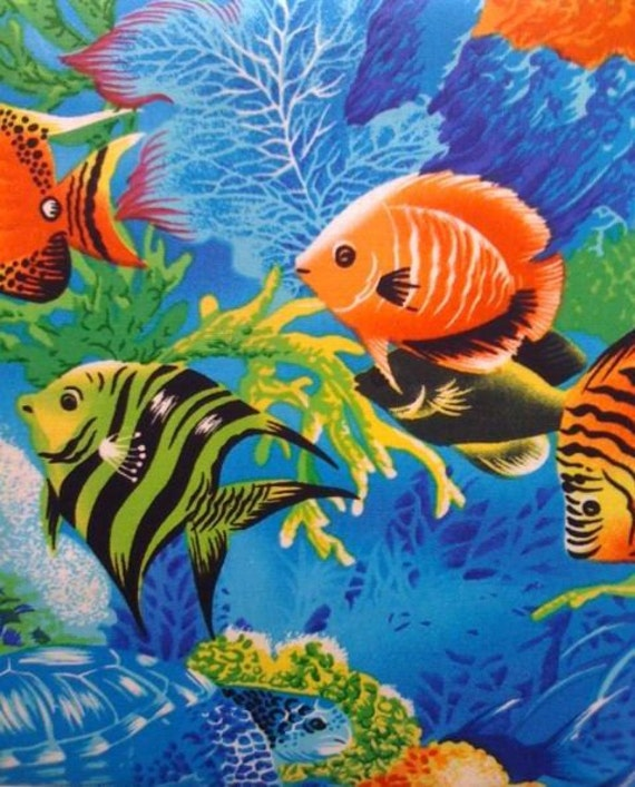 New tropical blue ocean fish sea cotton window curtain for Ocean blue fish oil