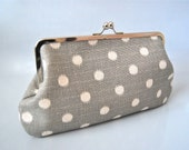 Beautiful Large Clutch... Gray Polka Dot
