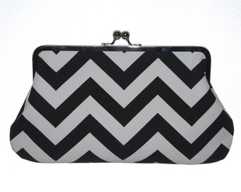 Beautiful Large Clutch Chevron Zig Zag Black and White