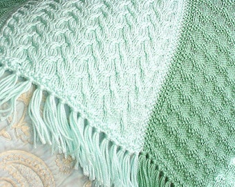 PATTERN - Sage & Soft Green in Shadow Cable and Seed Zigzag, PDF