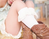 Lace Knee Socks with Ivory Ruffle by Dreamspun - Girls Leg Warmers Collection